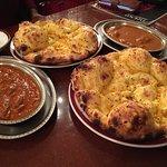 Chicken bharta, chicken spicy curry, garlic naan.