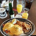 Smoked salmon Benedict and Belgian Waffle