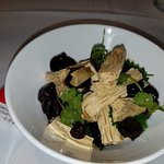 Sheets of Tofu with black fungus and a cilantro vinaigrette
