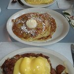 fluffy omelette banana nut pancakes and eggs Benedict corn beef hash