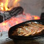 Brochette de Gambas au feu de bois