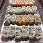 Fresh sushi selections.