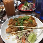 Shrimp Pad Tahi and Thai Sweet Tea