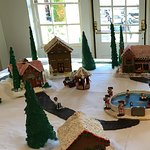 There is a great gingerbread village and train in the lobby