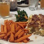 Crab cake with sweet potato fries