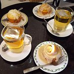 Pumpkin cinnamon rolls, a muffin and teas. What a great place!