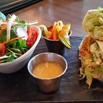 Buffalo chicken wrap with side salad