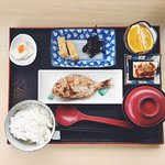 Delicious breakfast. It's pure Japanese style with rice, miso soup, grilled fish, omelet, pickle