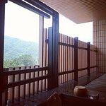 客房陽台的觀景湯池看到的風景