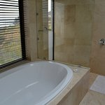 Bath and shower behind.
