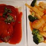 BBQ pork & chicken, broccoli and chilli at Fuchi