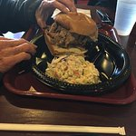 Pulled pork sandwich with side of cole slaw