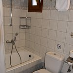 "Bathroom. Notice the location of the washing line ""plug"" under the towel rack"