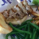 Pincher's Mahi sandwich with fries and green beans