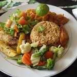 our lunch - barracuda, rice, mixed veggies, potaotes, and fried plantations