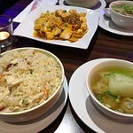 Yang chow fried rice, mapo tofu and wanton soup