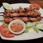 Spicy grilled chicken skewers
