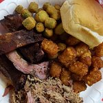 Pulled pork & ribs combo w/ tater tots, fried okra, and a roll