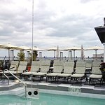Rooftop pool, on the horizon the USS Yorktown & Marine Resort, leftside the Arthur Ravenel Bridg