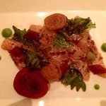 Sea bream sashimi with beets and shiso.