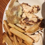 Grilled chicken strips, chicken and dumplings, pancakes and Haddock.