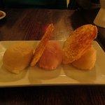 Dessert - Sorbet trio of vanilla pear, peach, and apple cider