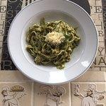 Pasta with home made pesto sauce