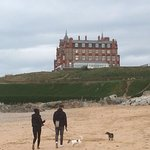 The view of the hotel from Fistral Beach