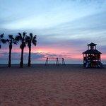 Amanecer en la soberbia playa de san juan, palmeras e instalaciones