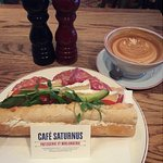 Salami Baguette and Coffee