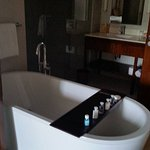 Large free standing bath( the doors slide close for privacy)