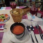 Tomato salad, gazpacho