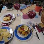 Tortilla, manchego cheese, paella