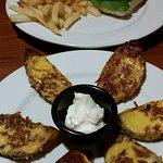 Grilled chicken burger and potato skins