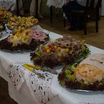 Part of the lunchtime buffet over Xmas 2016 and note the thickness of the turkey.