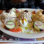 Salad plate with tuna salad, coleslaw and potato salad
