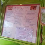 Extensive menu with daily special.