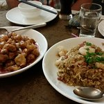 Sweet & sour pork and special fried rice.