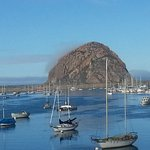 Spectacular morning view of Morro Rock from dining deck in restaurant