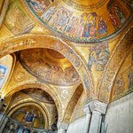 Shot from inside the only area of St Mark's Basilica where photos are allowed. Gold foil ceiling