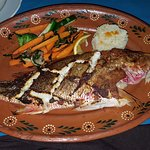 Pacific red snapper. Served whole with head and tail and you know it's not a cheaper substitute.