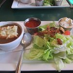 Onion Soup with  Cheesy Bread and Salad