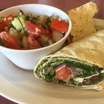 pesto and vegetable wrap (in lavash)