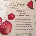 Christmas buffet description, Chicago Joe's, 1808 Wellington Ave | Victoria Inn Hotel, Winnipeg,