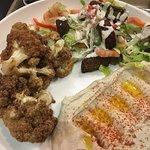 Hummus, salad and Cauliflower