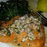 Atlantic Char with Pine Nuts and Sauteed Spinach
