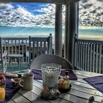 Breakfast on the porch with ocean view