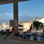Breakfast terrace looking to Mt. Etna