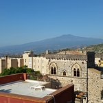 Breakfast terrace looking to Mt. Etna