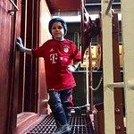 Grandson prepares to enter Duluth Winnipeg Pacific caboose